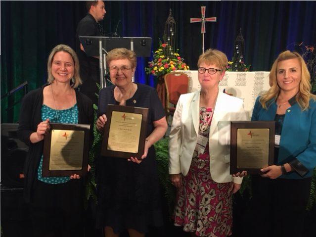 L to R: Ms. Kay I. Gorka BCC; Sr. Mary R. Skopal, SSJ, BCC; Christina Picchi BCC; Sarah Hetue-Hill