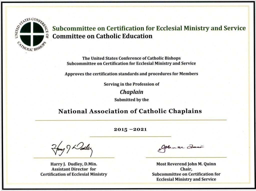 Certification The National Association Of Catholic Chaplains